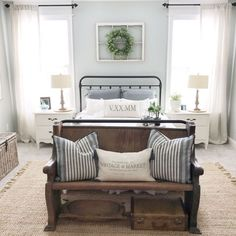 «« wreath in the bedroom »» 50 Bedrooms Show You How to Decorate in Farmhouse Style