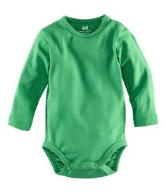 Long-sleeved bodysuit in organic cotton with snap fasteners on one shoulder and at gusset