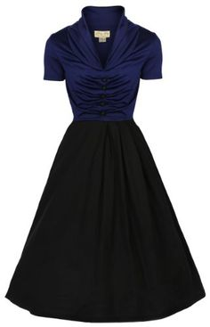 Lindy Bop 'Elsa' 1950's Robe Vintage, Party Evening Dress (38, Bleu et noir) Lindy Bop