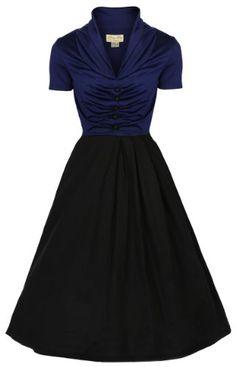 Lindy Bop 'Elsa' 1950's Robe Vintage, Party Evening Dress (38, Bleu et noir) Lindy Bop                                                                                                                                                                                 Plus