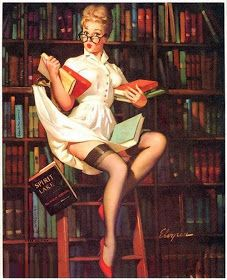 Definitely the perfect candidate for my professor pin-up tattoo! Except brown hair and reading the DSM-IV lol -- Vintage Vic: Vintage Pinup Artist, Gil Elvgren
