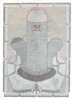 Kumari - hand - linga by Pushpa Kumari. Arte Shiva, Shiva Art, Shiva Shakti, Art Indien, Tantra Art, Indian Contemporary Art, Hindu Dharma, Les Religions, Madhubani Art