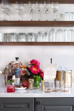 DIY cocktail station with gold ice bucket and bar tools. Sweet Home, Outdoor Kitchen Countertops, Wood Shelves, Open Shelves, Walnut Shelves, Bar Shelves, Kitchen Shelves, Floating Shelves, Shelving