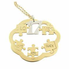 Κολιέ Γούρι 2017 Παζλ Κίτρινο Επιχρυσωμένο ΓΟ5005 Charms, Symbols, Joy, Letters, Icons, Glee, Happiness, Fonts, Letter
