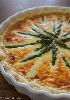 Asparagus Manchego Breakfast Pie - Easy savory breakfast pie with a soft, buttery make-ahead crust. Lots of creamy manchego cheese and fresh asparagus are the perfect pair for a delicious breakfast.
