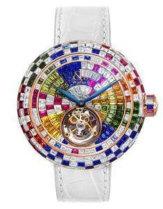 Jacob & Co.  The Brilliant Flying Tourbillon Arlequino Is A Gem Set 18k Rose Gold  Timepiece.......