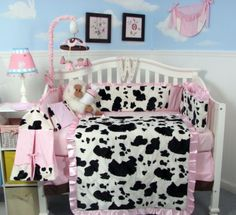 Soho Pink Moo Chenille Baby Crib Nursery Bedding Set 13 Pcs Included Diaper Bag With Changing Pad Bottle Case By Designs