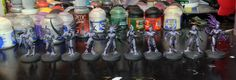 I'm working on painting up 10 Daemonettes of Slaanesh. This is early work, just some base coating, but it should go pretty quickly.