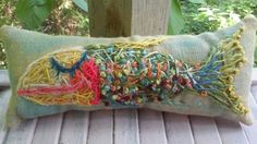 Hey, I found this really awesome Etsy listing at https://www.etsy.com/listing/234124983/funky-fish-hand-embroidered-pillow-ready
