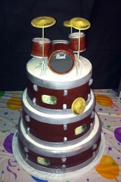 Pearl Drum cake. Make the red sparkly and it's like the set I played growing up! I want this cake!