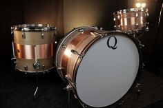 Q Drum Company, Copper is typically a material used for top shelf snare drums, now available in full kits. These shells are the darker sounding of the metal drums we offer. They have a very punchy, controlled tone with enhanced low-end and mid-range. Maple reinforcement hoops retain the warmth of a wood shell.