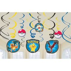 Our Pokemon Swirl Decorations are perfect for a Poké party! Featuring foil swirls with Poké Ball and various character cutouts, these hanging decorations add a colorful touch to your Pokemon party. Ha
