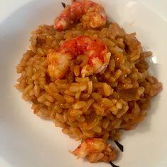 Arroz meloso con carabineros #receta #recetasMycook Risotto, Rice, Cooking, Ethnic Recipes, Food, Vegetables, French Onion, Food Processor, Bon Appetit