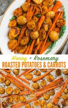 roasted potatoes and carrots * roasted potatoes ; roasted potatoes in oven ; roasted potatoes and carrots ; roasted potatoes in air fryer ; roasted potatoes and asparagus Carrots In Oven, Roasted Potatoes And Carrots, Carrots Healthy, Honey Roasted Carrots, Cooked Carrots, Roasted Vegetables, Dinner Vegetables, Carrot Recipes, Vegetable Recipes