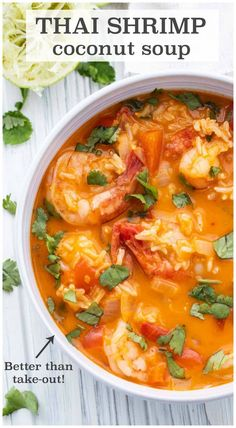 This healthy soup is easy to make and packed full of flavour! Who needs takeout when you can make this Thai Shrimp Curry Soup? Thai Shrimp Curry, Thai Curry Soup, Coconut Curry Shrimp, Coconut Curry Soup, Healthy Coconut Shrimp, Healthy Zucchini, Healthy Soup Recipes, Curry Recipes, Seafood Recipes