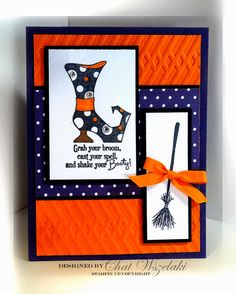 Stampin Up Bootiful Occasions, Witch Boot and Broom. Orange and Blue, Halloween Halloween Paper Crafts, Up Halloween, Halloween Cards, Halloween Themes, Homemade Halloween, Halloween Decorations, Scrapbooking, Scrapbook Cards, Scrapbook Layouts