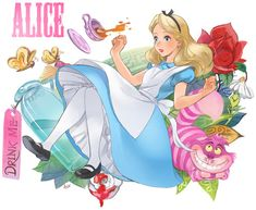 alice (wonderland) alice in wonderland animal ano (sbee) apron artist name blonde hair bloomers blue dress blue eyes bottle bug butterfly cat character name cup disney dress flower hair ornament hair ribbon highres insect leaf long hair looking away Disney Kunst, Arte Disney, Disney Fan Art, Disney Love, Disney Rapunzel, Alice In Wonderland Drawings, Wonderland Alice, Chesire Cat, Alice Madness