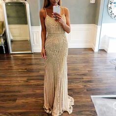 Luxurious Mermaid Spaghetti Straps Champagne Long Prom Dress,Fashion Prom Dress,Sexy Party Dress,Custom Made Evening Dress