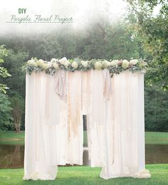 diy | cloth draped floral pergola | via: green wedding shoes