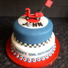 MOD themed 50th Birthday cake Two tiered with Vespa scooter made from fondant