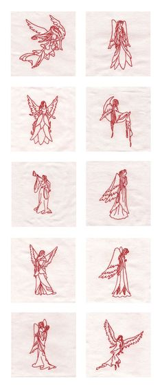 Redwork Angels of Grace Embroidery Machine Design Details