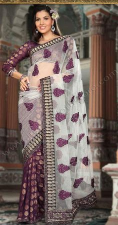 $70.79 Purple Net And Viscose Georgette Festival Saree 15227 With Unstitched Blouse