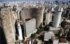 Downtown São Paulo, showing the landmark buildings Italia (at left) and Copan (curved façade at center). Banksy, Places To See, Places Ive Been, Sao Paulo Brazil, Paulistano, Largest Countries, Birds Eye View, South America, Latin America