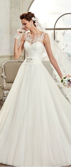 f92283df2606 Modest Tulle   Satin Bateau Neckline A-Line Wedding Dresses With Beaded  Lace Appliques