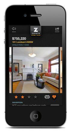 Zephyr Real Estate App - UX / UI by Justin Pocta, via Behance