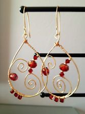 Artisan made, hammered wire wrapped Swarovski Crystals Earrings