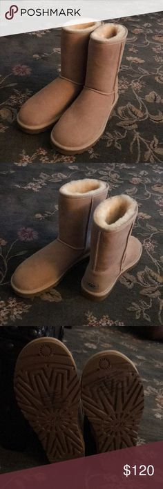Ugg classic short boots. NWT Ugg classic short boots. Color- sand( light beige) size - 7 women's. NWT. Inside is real fur from lamb. Adorable boots! UGG Shoes Ankle Boots & Booties