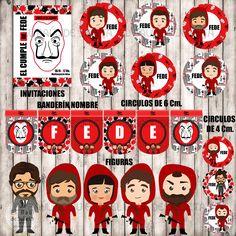 LA CASA DE PAPEL Kit imprimible Spanish Party, Emoticon, Advent Calendar, Party Themes, Netflix, Backdrops, Birthdays, Lily, Stickers
