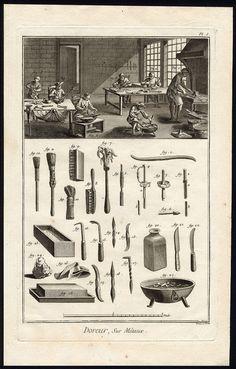 4 Antique Prints Gilding Gold Wood Leather Metal Diderot Prevost 1751 | eBay