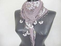 Grey scarf  Turkish Scarf  scarf for women  Cotton by ScarfsSale, $24.00