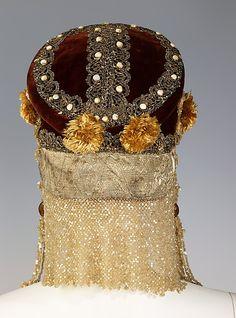 Headdress  Date: 19th century   Culture: Russian   Medium: silk, metal, mother-of-pearl, pearl