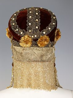 Headdress Date: 19th century Culture: Russian Medium: silk, metal, mother-of-pearl, pearl