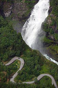 stalheimskleiva mountain road and sivlefosen waterfall /voss, norway