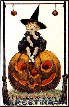 Little Witch on Pumpkin - Vintage Halloween Greeting