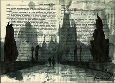 Print Art canvas best gift Ink Drawing City by EmanuelArtStudio