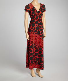 Another great find on #zulily! Red & Black Giraffe V-Neck Maxi Dress by Modern Touch #zulilyfinds