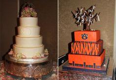 Bride's and groom's cakes for an Auburn wedding
