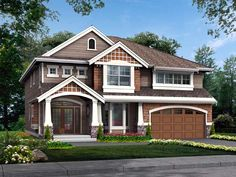 House Plan 87472 | Craftsman Plan with 3151 Sq. Ft., 4 Bedrooms, 3 Bathrooms, 3 Car Garage