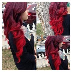 20 Ideas for Red Ombre Hair 20 ideas for red ombre hair. List of red ombre hair colors. Red ombre hair color ideas for a bold new look. Bright Red Hair, Brown Ombre Hair, Ombre Hair Color, Hair Colors, Red Velvet Hair Color, Red Hair Accessories, Pelo Multicolor, Beautiful Red Hair, Natural Hair Styles