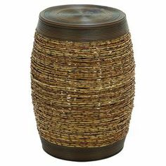"Indoor/outdoor barrel-shaped stool with woven detail. Product: StoolConstruction Material: PolyethyleneColor: Brown and tanFeatures: Suitable for indoor or outdoor useDimensions: 19"" H x 14"" Diameter"