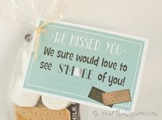 "Free Printable ""Would love to see Smore of you!"" Perfect for a girl in Young Women's or a child in Primary that has not been attending. Or just a friend you are missing! Primary Activities, Young Women Activities, Cute Gifts, Diy Gifts, Young Women Handouts, Young Adult Ministry, Miss You Gifts, Personal Progress, Visiting Teaching"