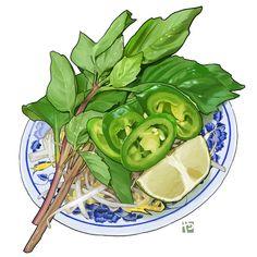 Pho Bo, Pho Recipe, Cute Food Art, Food Sketch, Modern Food, Fiber Diet, Food Drawing, Food Illustrations, Aesthetic Food