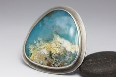 Regency Plume Agate Turquoise Doublet Ring, Plume Agate and Turquoise Statement Ring, Sterling Silver, Unisex Statement Ring, Size 7.25 by leChienNoirJewelry on Etsy