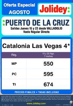 Especial Agosto Puerto de la Cruz, Hotel Catalonia las Vegas, salidas VLL desde 550€ tax. incluidas - http://zocotours.com/especial-agosto-puerto-de-la-cruz-hotel-catalonia-las-vegas-salidas-vll-desde-550e-tax-incluidas/