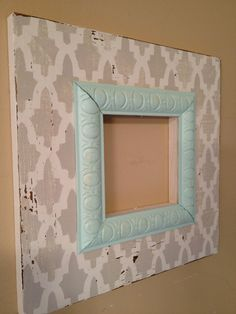 Distressed wood picture frame 5x5 Moroccan Arches in white and grey with pale aqua ovals trim. via Etsy.
