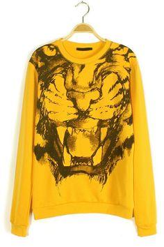 Yellow Tiger Graphic Sweater-shirt OASAP.com